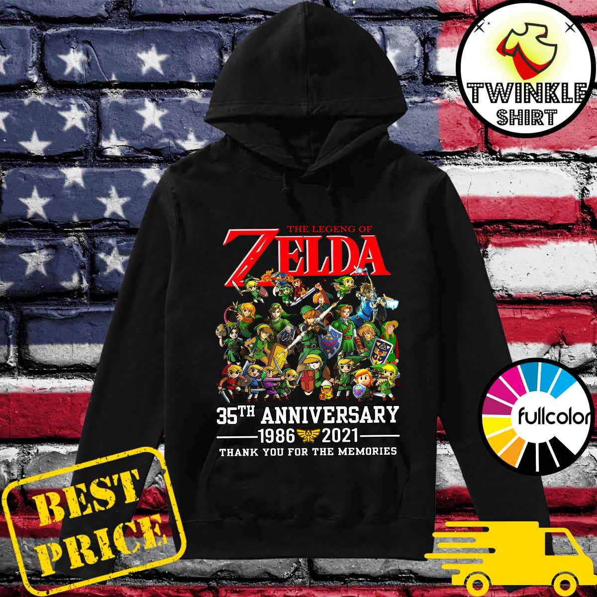 35th Anniversary 1986 2021 The Legend Of Zelda Thank You For The Memories Shirt Hoodie