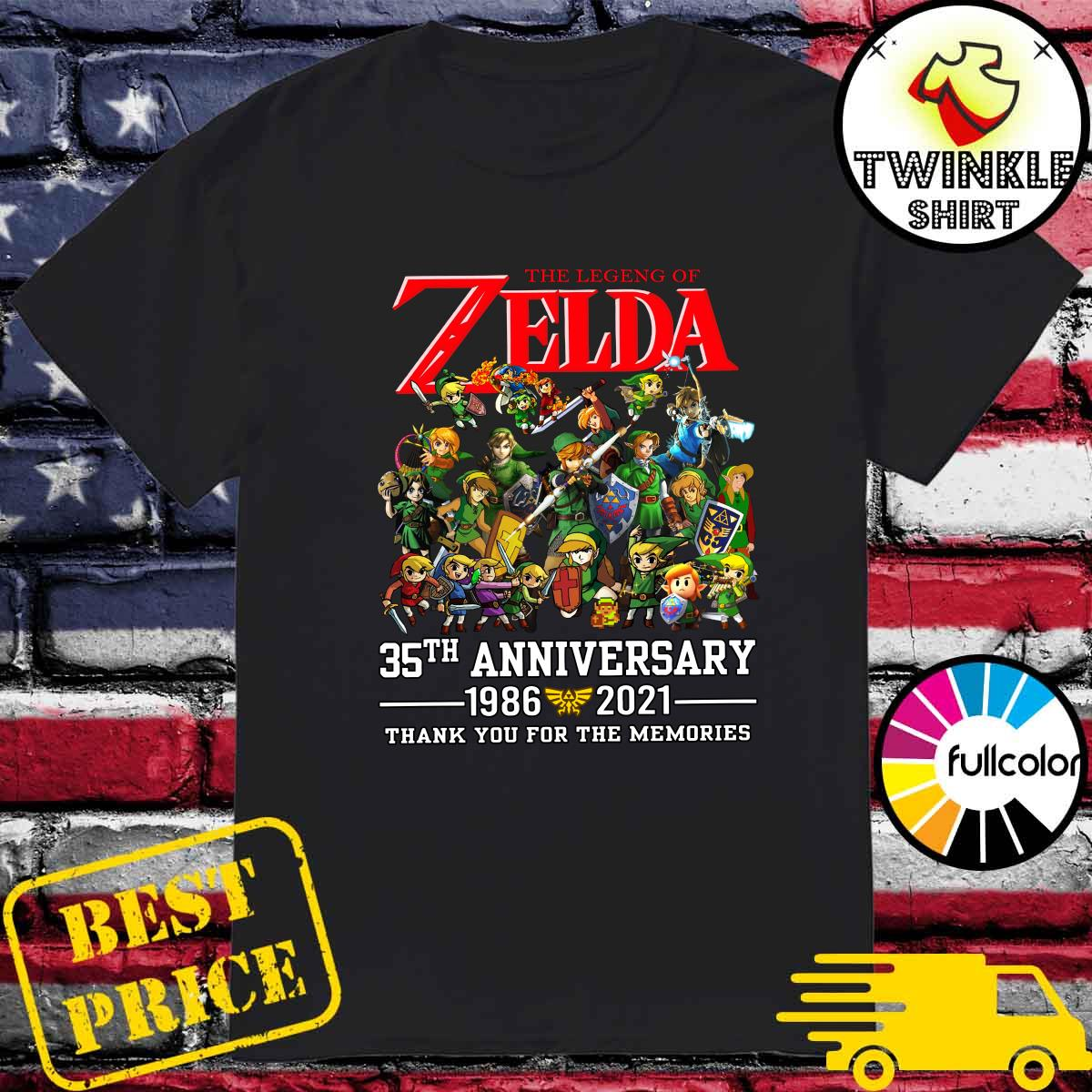 35th Anniversary 1986 2021 The Legend Of Zelda Thank You For The Memories Shirt