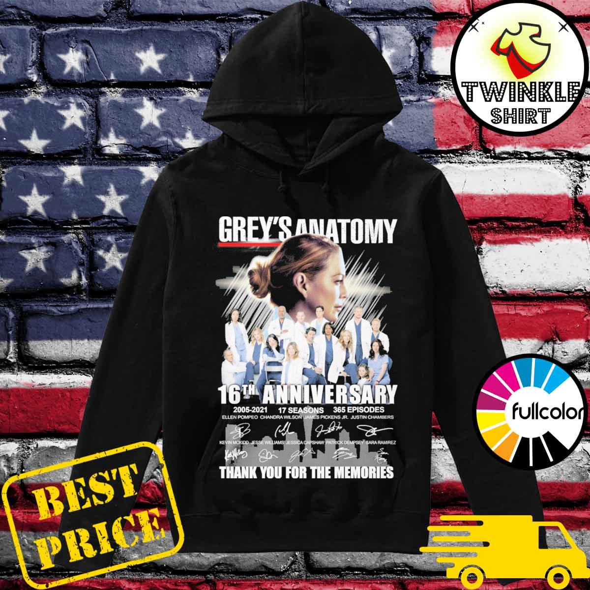 Thank You For The Memories Of Grey's Anatomy 16th Anniversary 2005 2021 17 Seasons 365 Episodes Signatures Shirt Hoodie