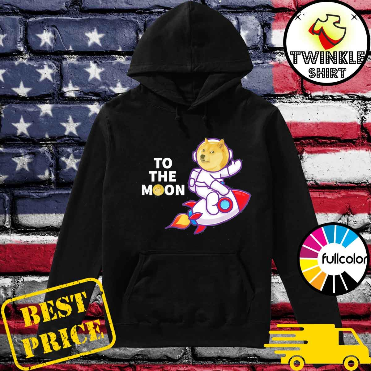 Dogecoin to the Moon Shirt, Cool Doge Coin Crypto Currency T-Shirt Hoodie