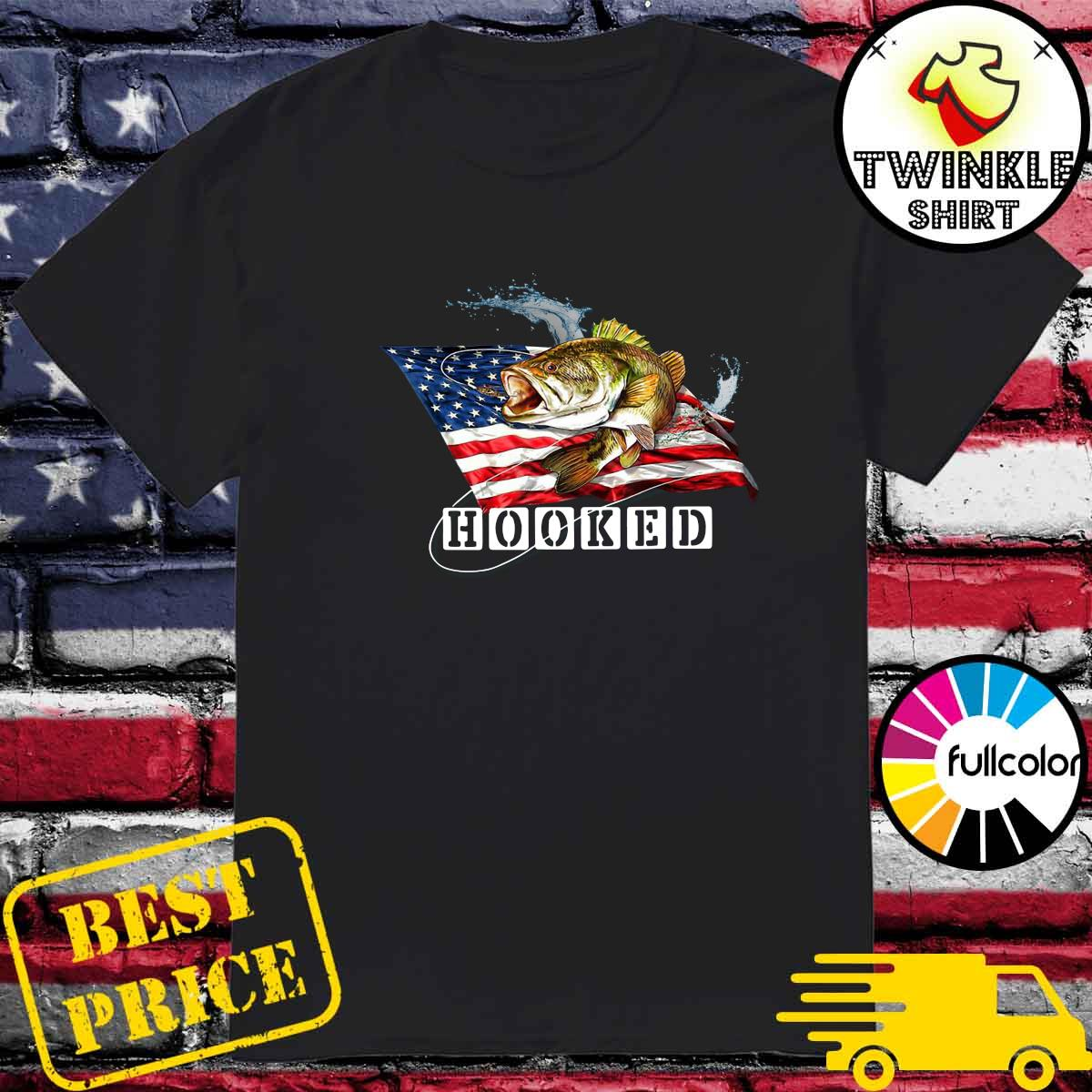 Official American Flag With Bass Fish Hooked Shirt
