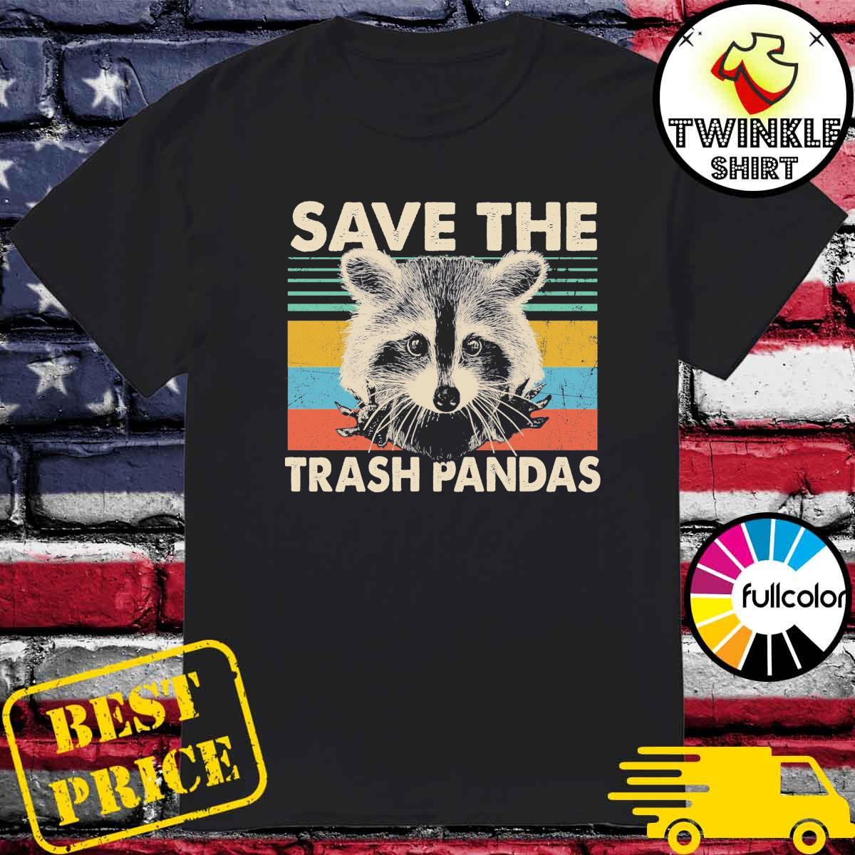 Official Raccoon Save The Trash Pandas Vintage Retro Shirt