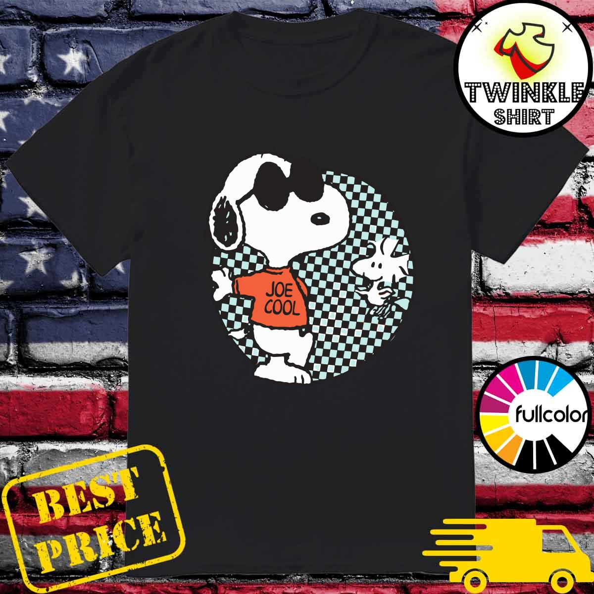 Official Snoopy Joe Cool And Woodstock Checkered Cartoon Shirt