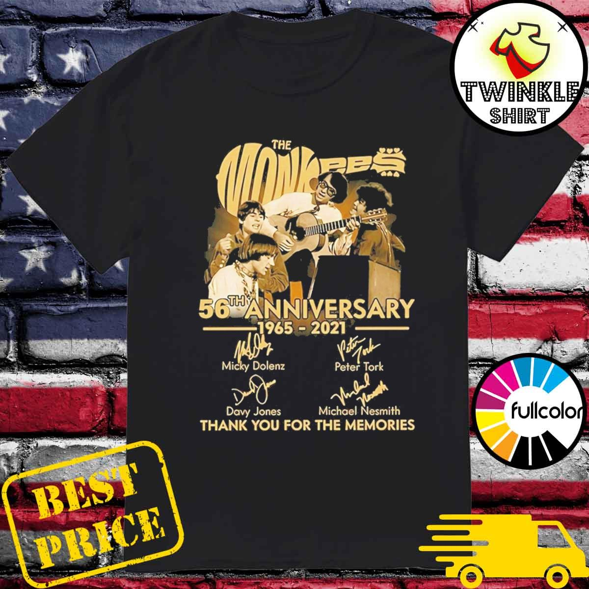 Official The Monkees 56th Anniversary 1965 2021 Signatures Thank You For The Memories Shirt