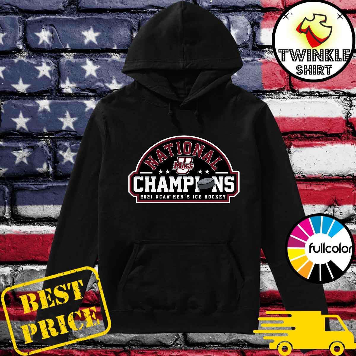 Official UMass Minutemen 2021 NCAA Men's Ice Hockey National Champions Official Logo T-Shirt Hoodie