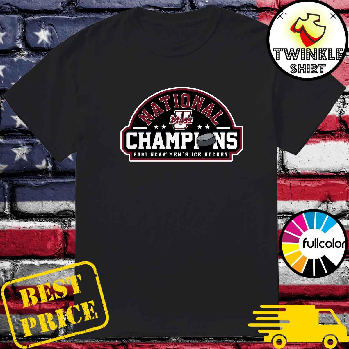 Official UMass Minutemen 2021 NCAA Men's Ice Hockey National Champions Official Logo T-Shirt