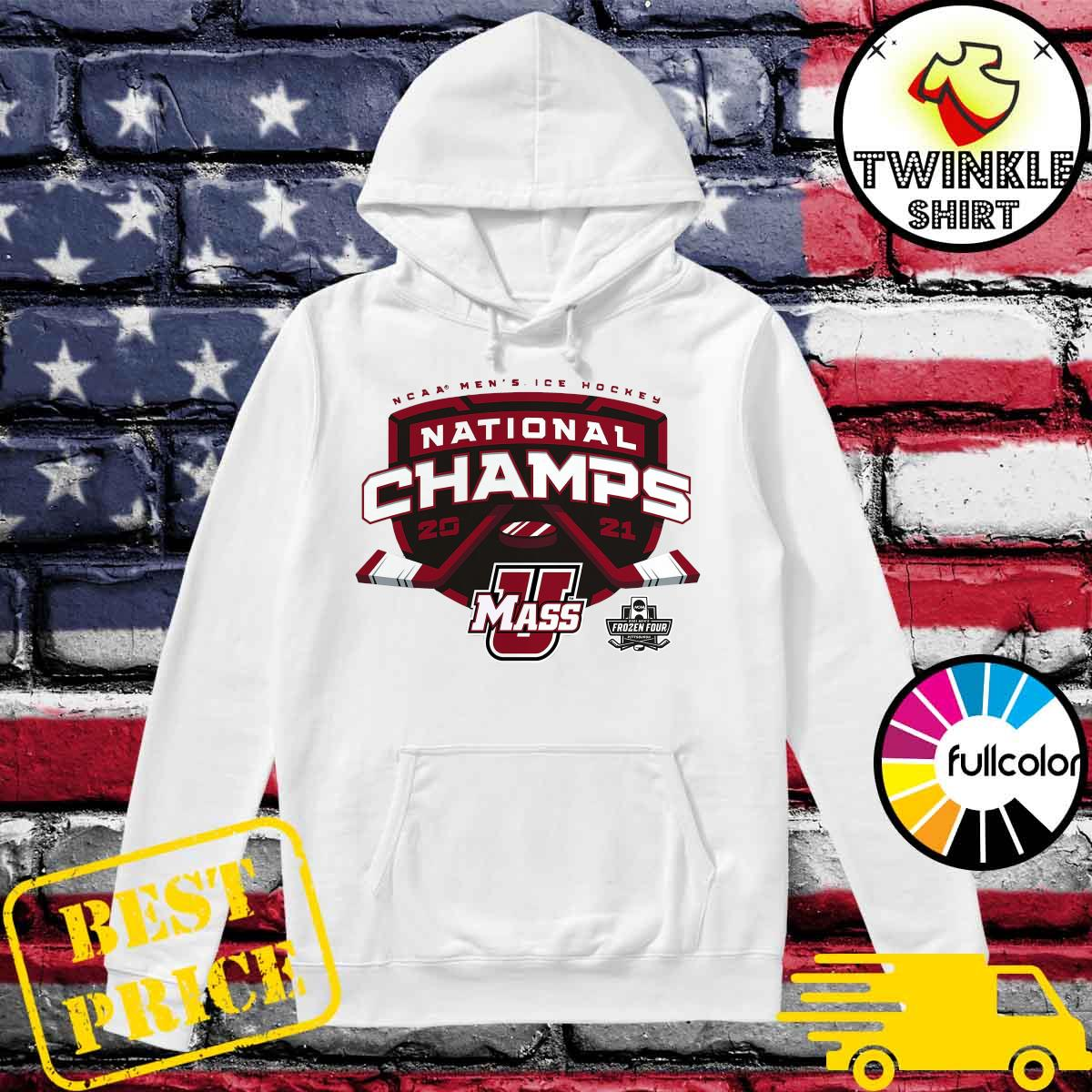 Official UMass Minutemen 2021 NCAA Men's Ice Hockey National Champions T-Shirt Hoodie