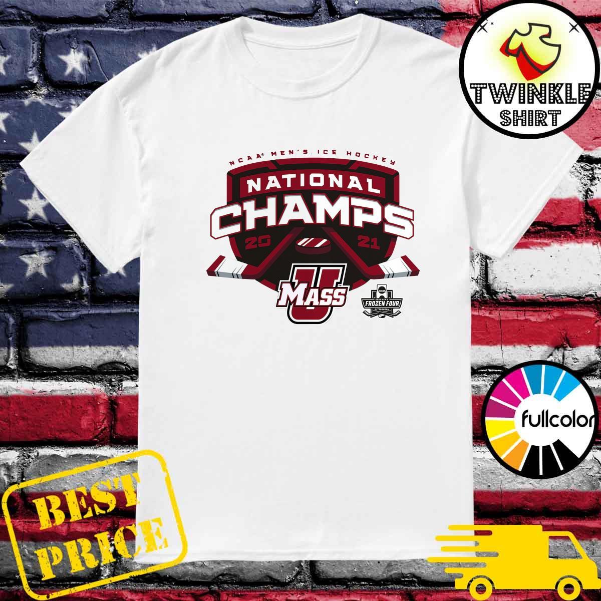 Official UMass Minutemen 2021 NCAA Men's Ice Hockey National Champions T-Shirt