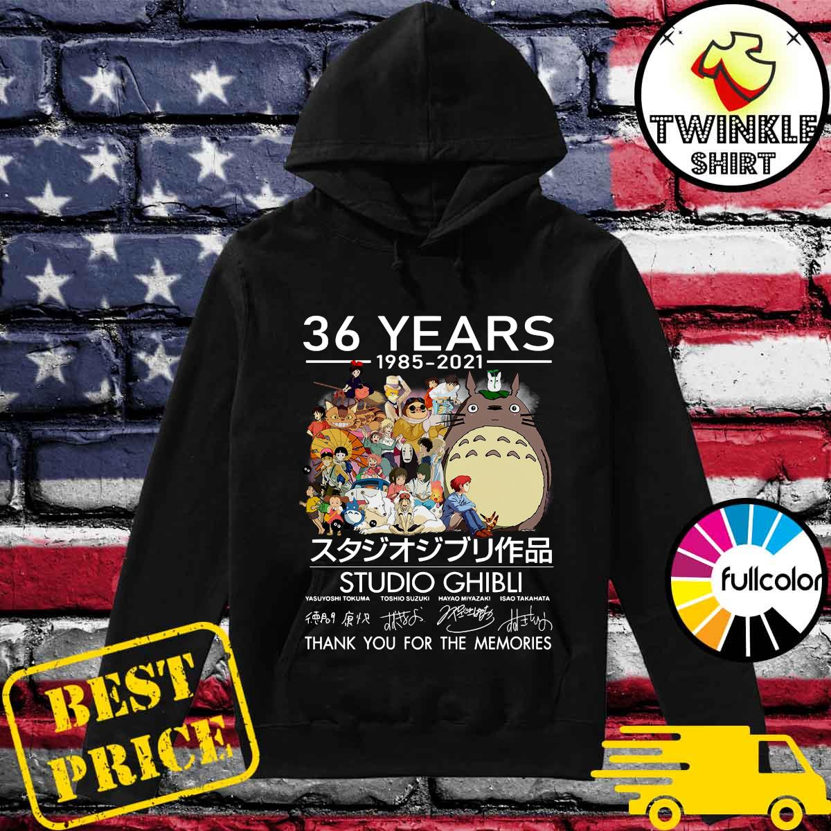 Official 36 Years 1985 2021 Studio Ghibli Movies Signatures Thank You For The Memories Shirt Hoodie