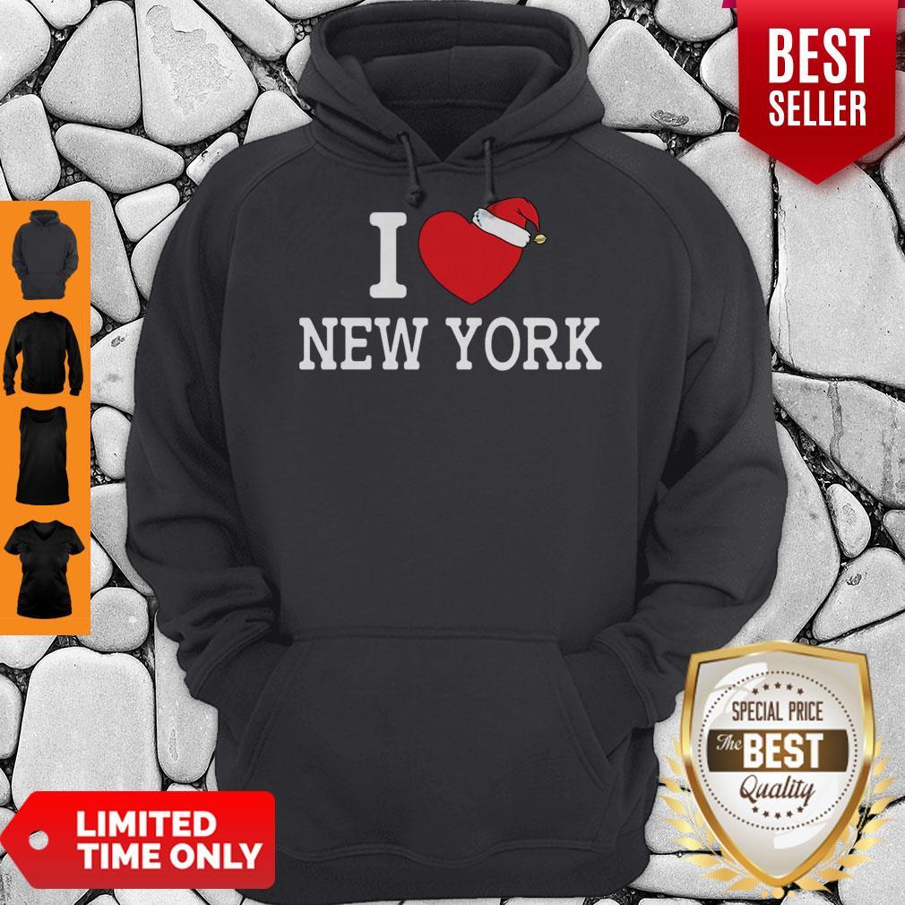 I Heart New York Christmas Santa Hat New York Strong Love Hoodie